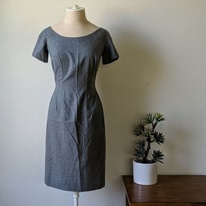 Vintage 50s wool wiggle dress in charcoal grey
